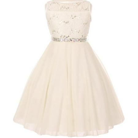 Little Girls Sparkling Sequin Lace Chiffon Flower Girls Dresses Ivory 2 (Size - Lace Ivory Flower Girl Dresses