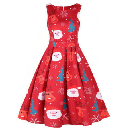 Womens Vintage 50s Xmas Christmas Print Ladies Sleeveless Halloween Rockabilly Party Swing Dress