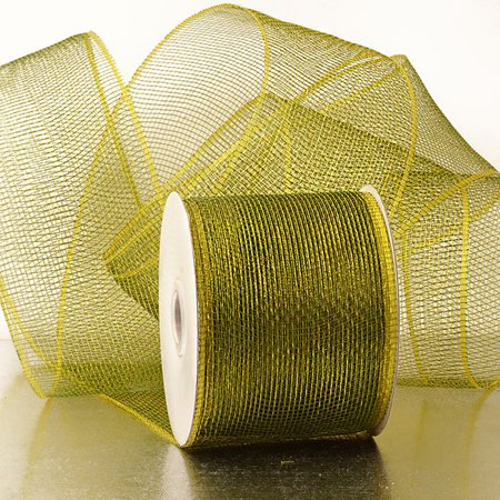 Olive Green 4 inch x 20 yards Two Toned Sparkle Deco Mesh Wreath Decorative Ribbon