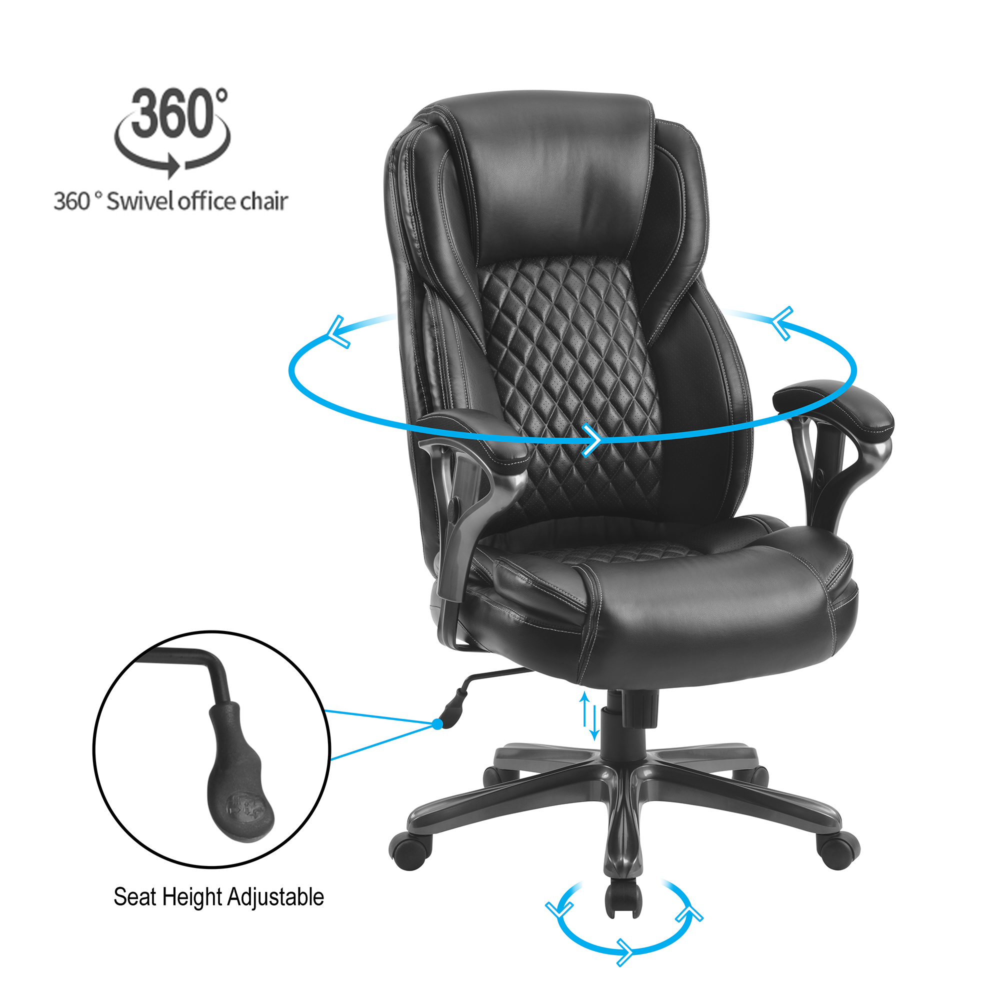 Picture of: Home Office Armrest Chair Leather Swivel Desk Chairs Adjustable Height Ergonomic Office Task Chair Executive Office Chairs With High Back Lumbar Support Computer Gaming Chair Black A787 Walmart Com Walmart Com