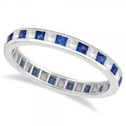 14k Gold 1 1/3ct Princess-cut Blue Sapphire & Diamond Eternity Ring (G-H, SI1-SI2) 14k Rose Gold - Size 5.5