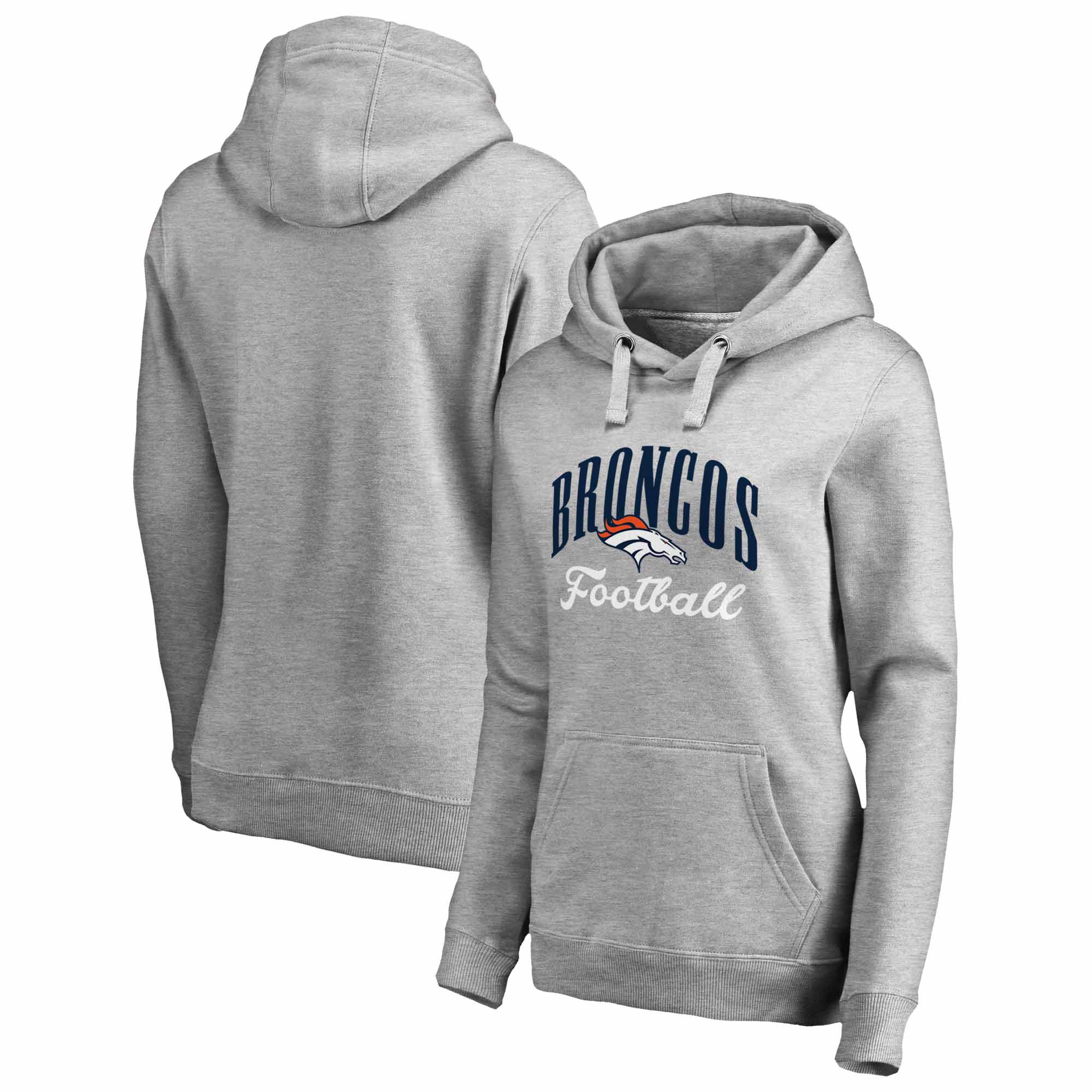 Denver Broncos NFL Pro Line by Fanatics Branded Women's Victory Script Pullover Hoodie - Gray