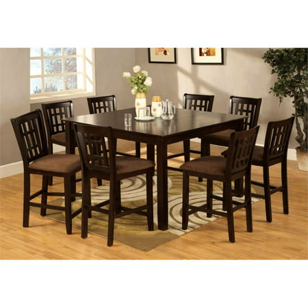 Furniture Of America Elle 9 Piece Pub Height Dining Set In Espresso