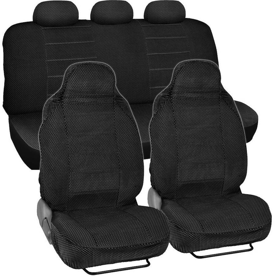 BDK Scottsdale Checkered Cloth Car Seat Covers, 7pc, Front and Rear Full Set, High Back