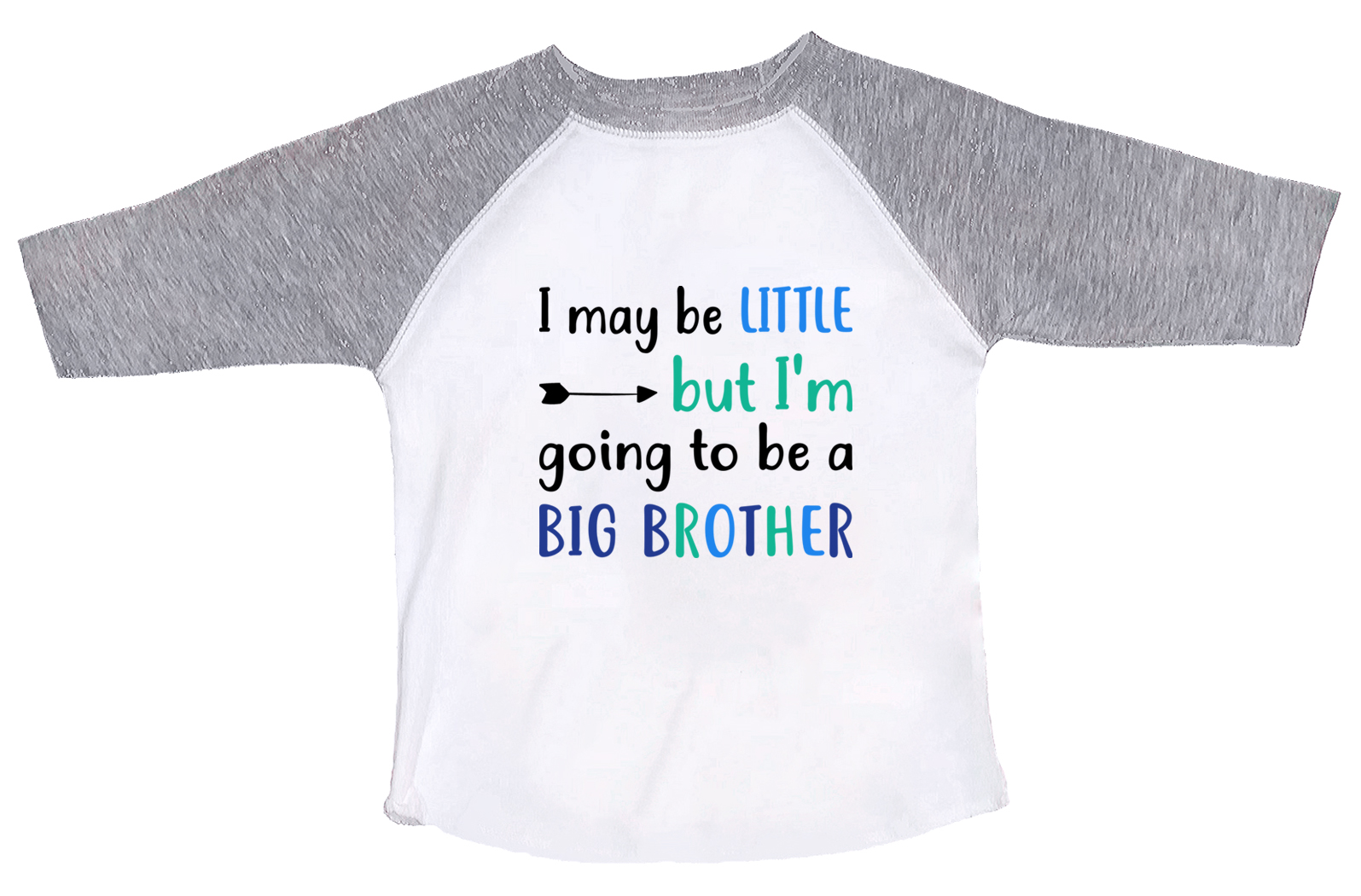 """e2d4f9ab80b Boys Brother Raglan """"I May Be Little But I m Going To Be A Big Brother""""  Toddler   Youth Baseball Tee Medium"""