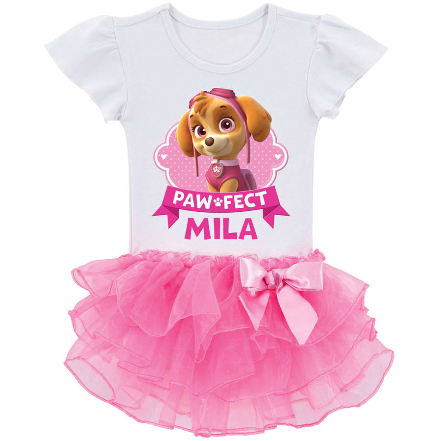 Personalized PAW Patrol Paw-fect Skye Toddler Girls' Tutu T-Shirt In Sizes: 2t, 3t, 4t, 5 6t by Generic