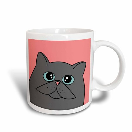 3dRose The Curious Cat Grey with Blue Eyes Pink, Ceramic Mug, 11-ounce