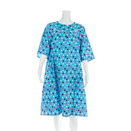 Women's Adaptive Flannel Backwrap Gown - Colorful Polka Dots With Blue Background - (Adaptive Dress)