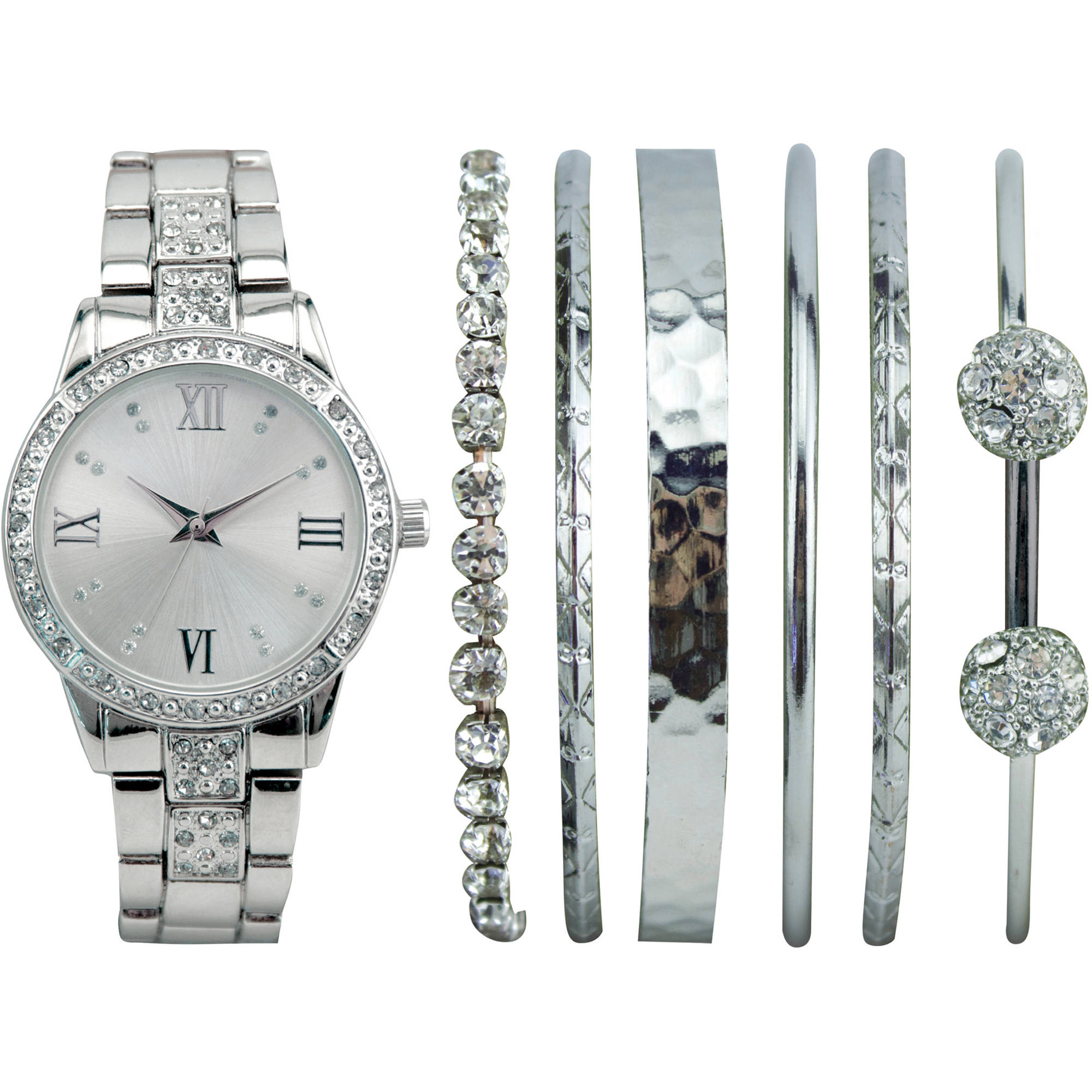 Women's Stackable Silver Watch Set with 6 Assorted Bracelets