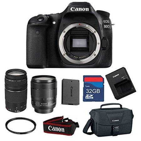 Canon EOS 80D 24.2 MP CMOS Digital SLR Camera Bundle with Canon EF-S 18-135mm f/3.5-5.6 IS USM Lens & EF 75-300mm f/4-5.6 III Zoom -