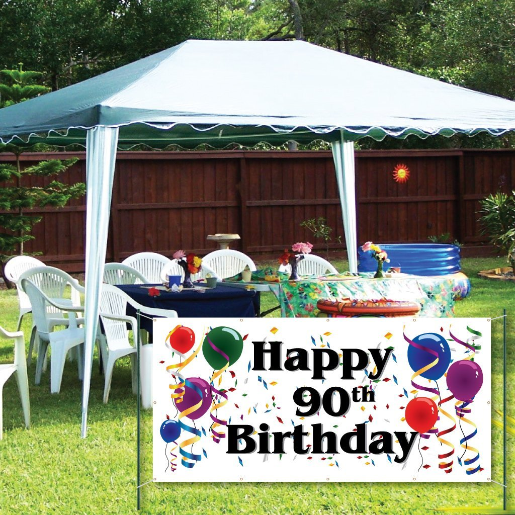 Happy 90th Birthday 2'x4' Vinyl Banner