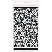 "Plastic Black Damask Table Cover, 84"" x 54"""