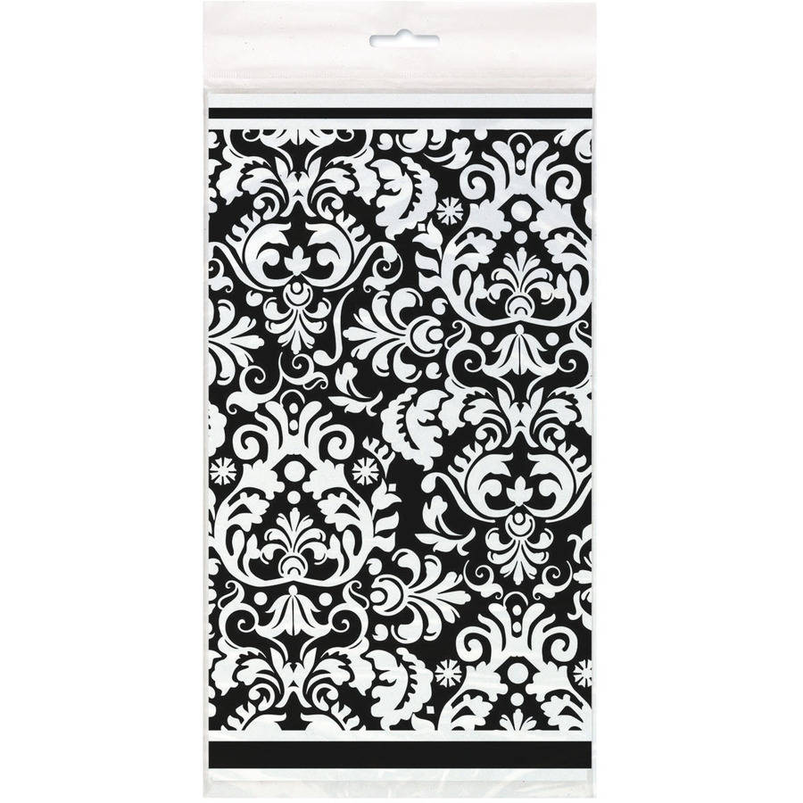 """Plastic Black Damask Table Cover, 84"""" x 54"""