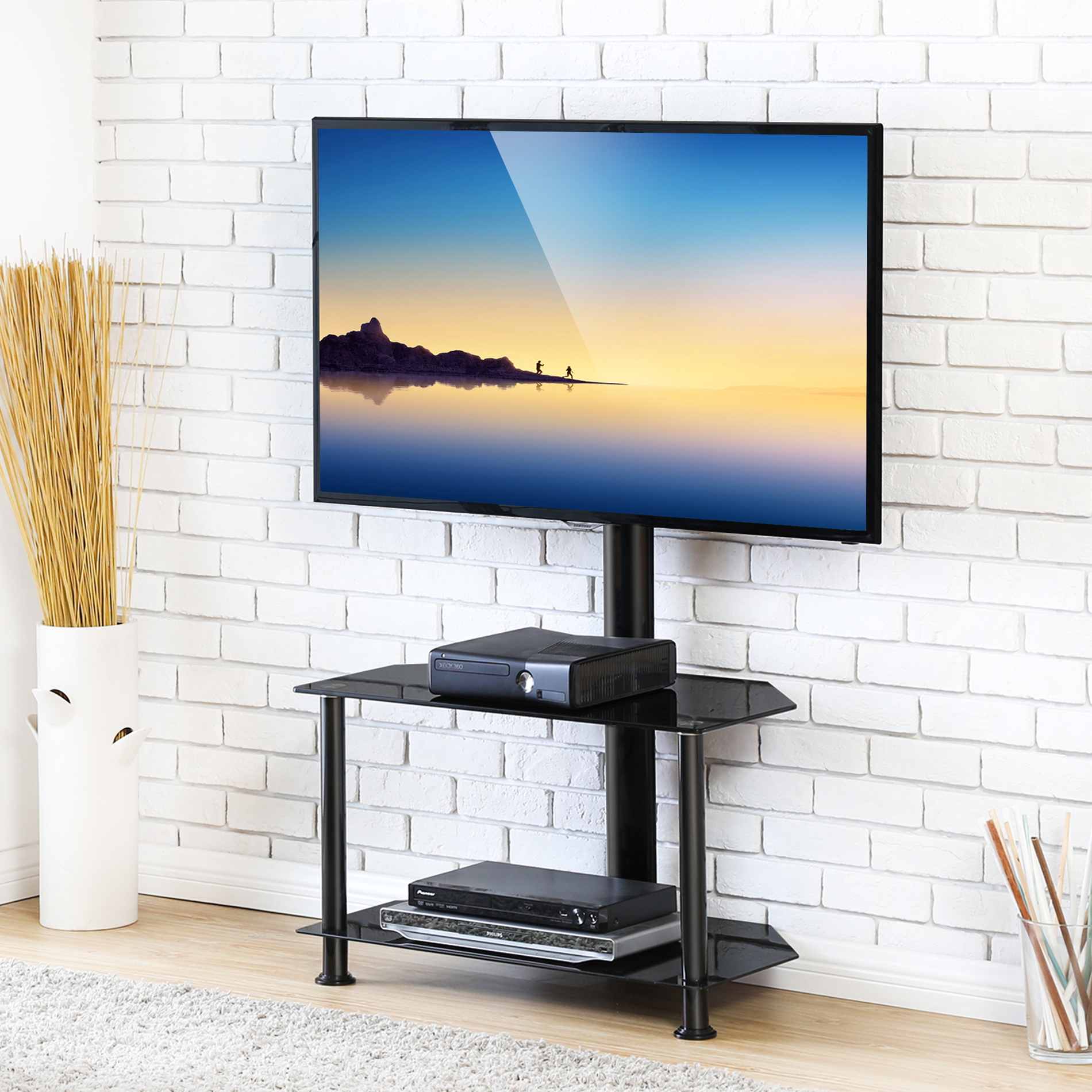 Click image to open expanded view FITUEYES Floor TV Stand with Swivel Mount and Height Adjustable Flat Curved Screen TV for 32 50 55 inch Vizio/Sumsung/Sony Tvs Max VESA 400x400 TW207502MB