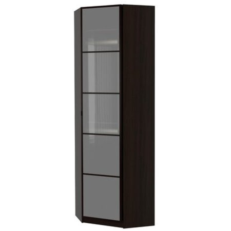 Ikea Corner Wardrobe  Black Brown  Fevik Frosted Glass 143838 22311 28