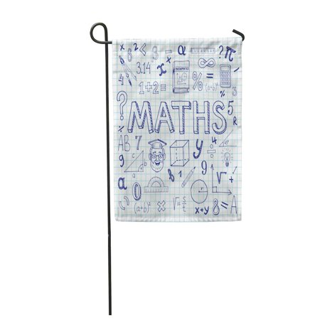 SIDONKU Class Maths with Doodle Mathematical Formulas Numbers and Exercise Book Sheet Ar Garden Flag Decorative Flag House Banner 28x40 inch