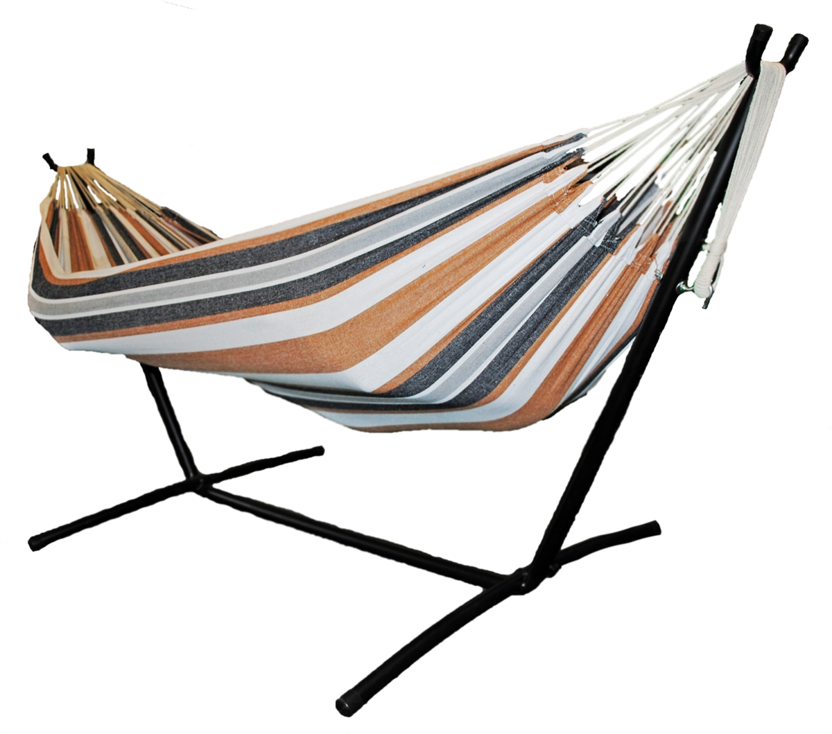 Omni Two Person Hammock with Compact Steel Stand and Case Tan Navy by Shop4Omni