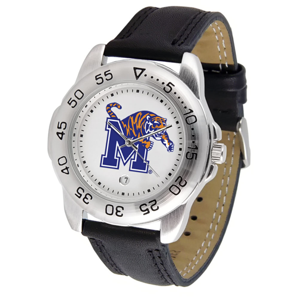 "Memphis Tigers NCAA ""Sport"" Mens Watch (Leather Band)"
