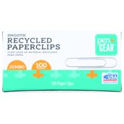 Pen + Gear Recycled Paper Clips, Jumbo Size, Silver, 100/Box (A7072514)