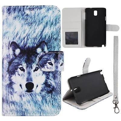 For Samsung Galaxy Note 3 N9000  Wallet  Husky Wolf Syn Leather Folio Dual Layer Interior Design Flip PU Leather case Cover Card Cash Slots & Stand  (Samsung Galaxy Note 3 Memory Card Slot)
