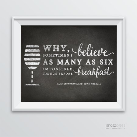 - Why, Sometimes I've Believed… Wine Wall Art Decor Sign, Vintage Chalkboard Style Poster