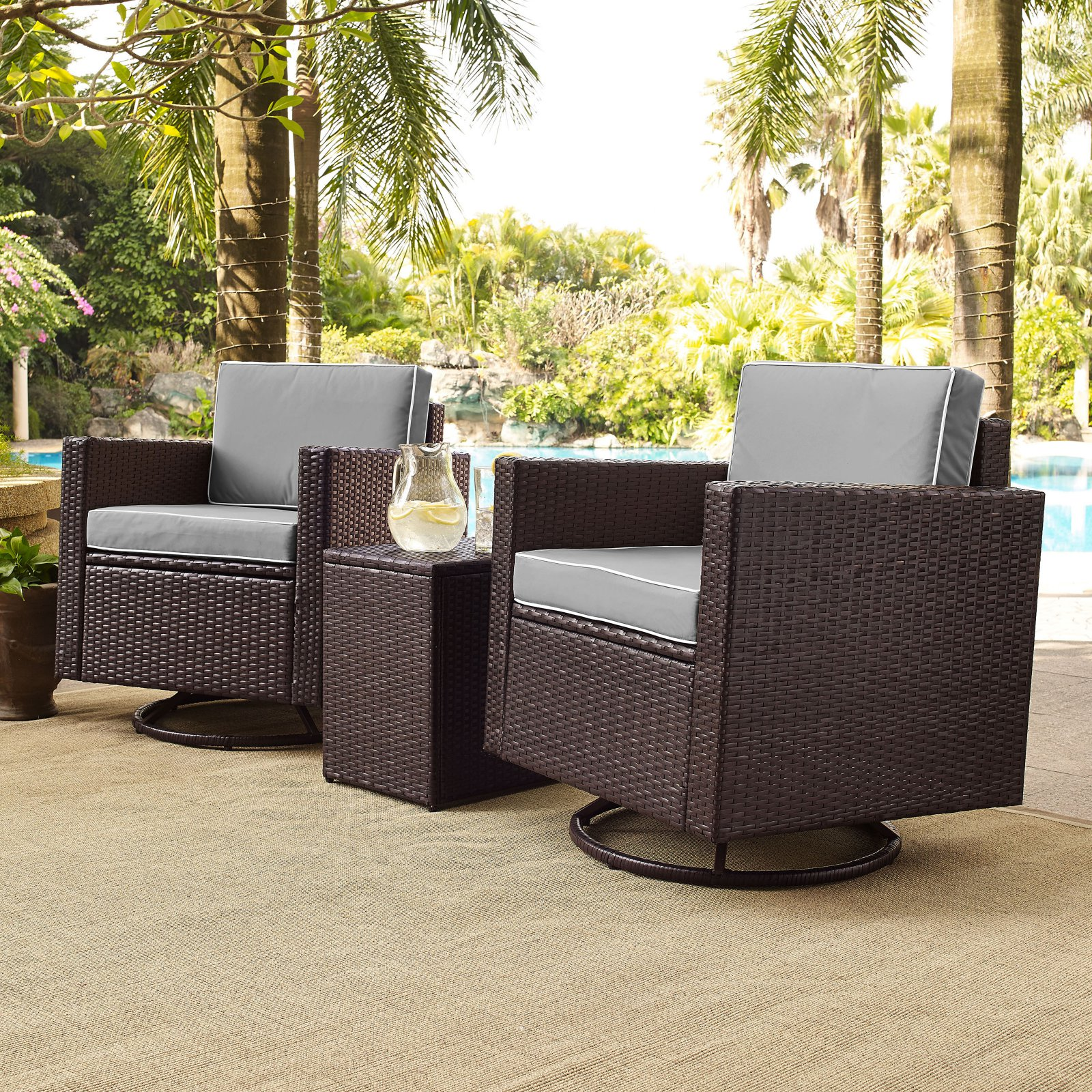 PALM HARBOR 3 PIECE OUTDOOR WICKER CONVERSATION SET WITH GREY CUSHIONS     TWO SWIVEL