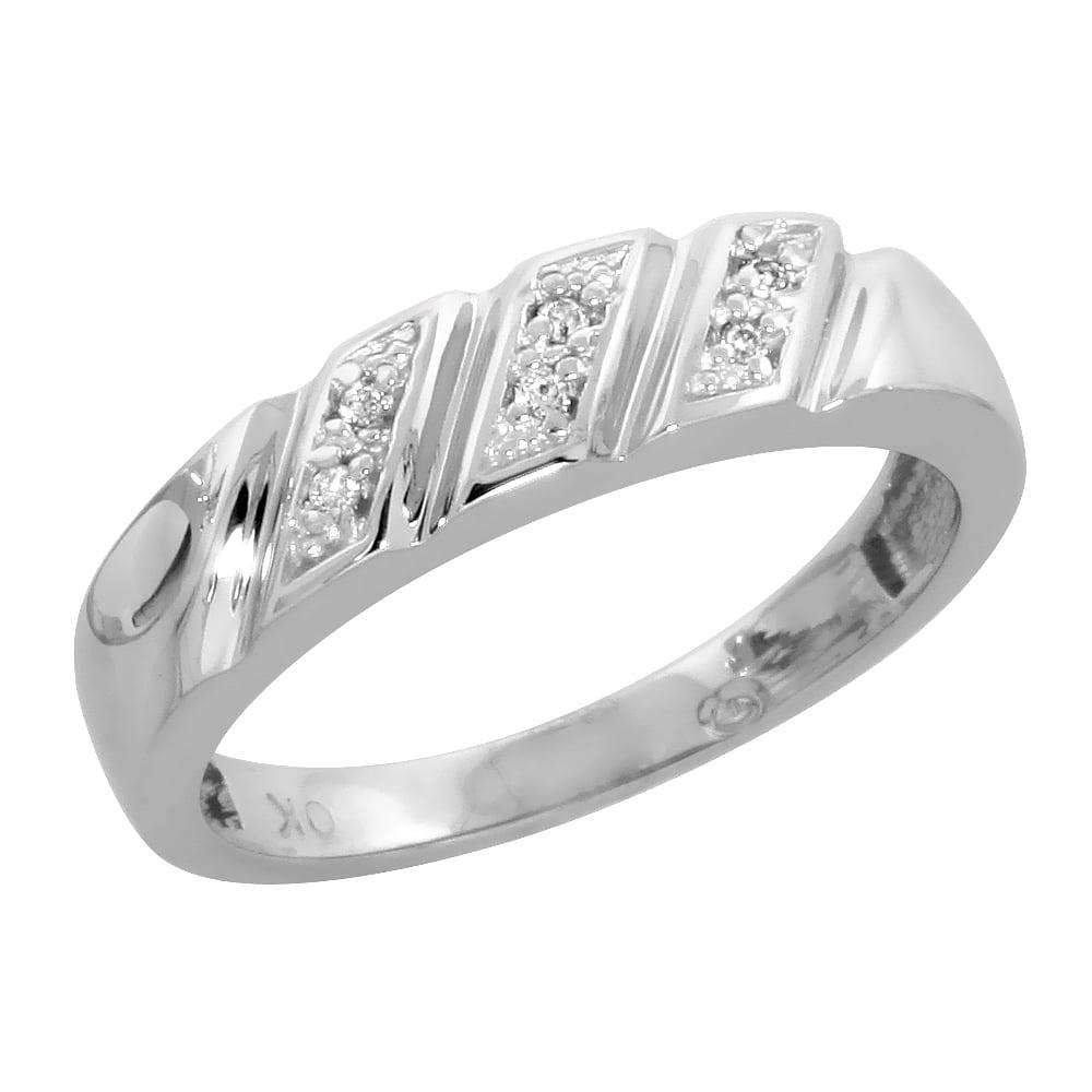 4.5mm Sterling Silver Mens Diamond Band w// 0.03 Carat Brilliant Cut Diamonds Size 12.5 wide 3//16 in.