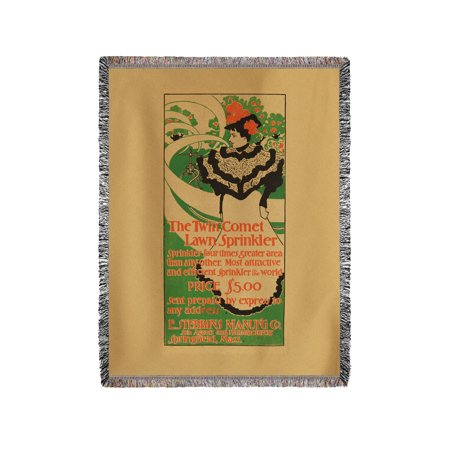 Twin Comet Lawn Sprinkler Vintage Poster USA c. 1897 (60x80 Woven Chenille Yarn Blanket)