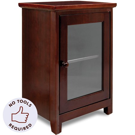 Stony Edge Espresso Night Stand - With Glass Door (Espresso Closet Door)