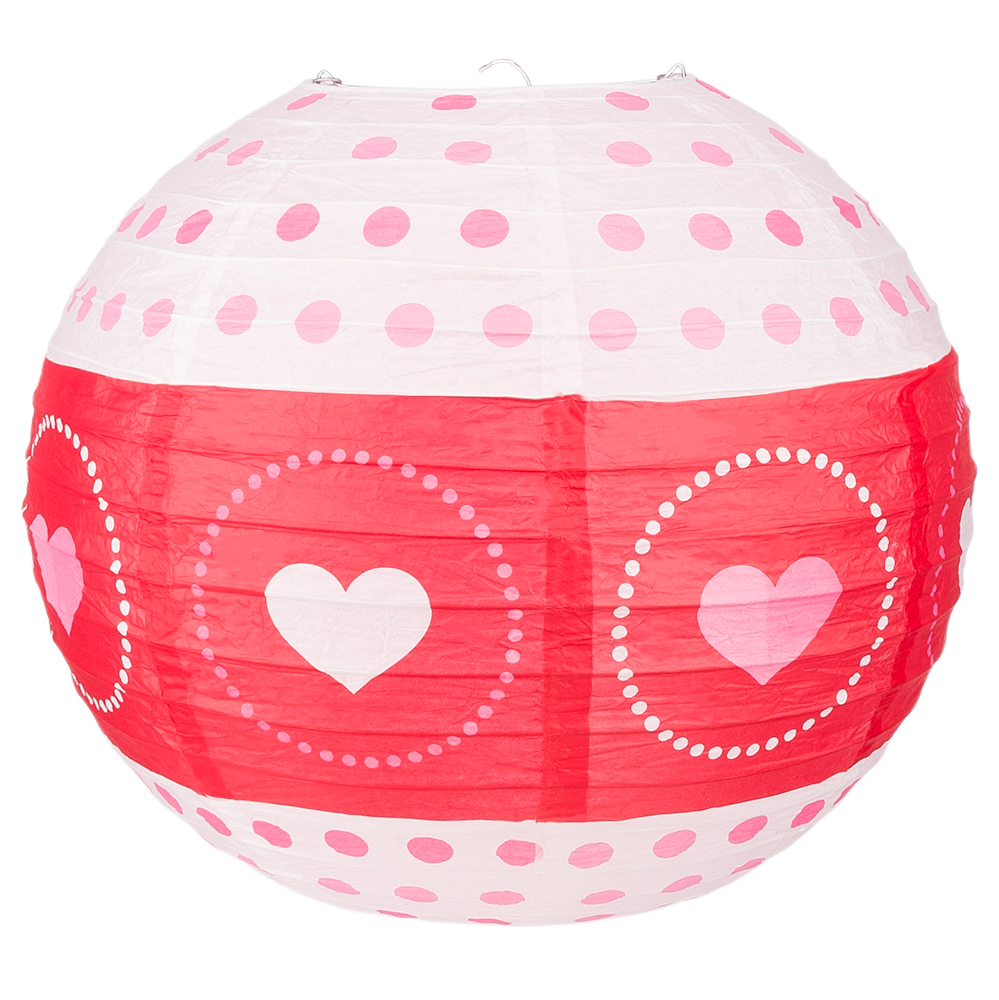"Quasimoon 14"" Red / White Valentine's Day Heart Paper Lantern, Even Ribbing, Hanging Decoration by PaperLanternStore"