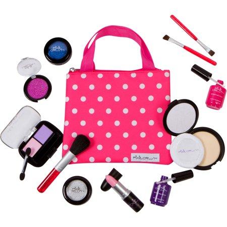 PixieCrush Pretend Play Makeup Kit. Designer Girls Polka Dot Bag - Beauty Basics Set - Drees Up