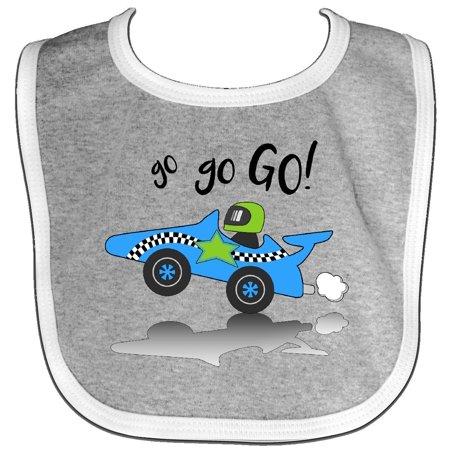 Inktastic Go Go Go  Blue Racing Car Baby Bib Cars Kids Race Speed Driving Driver