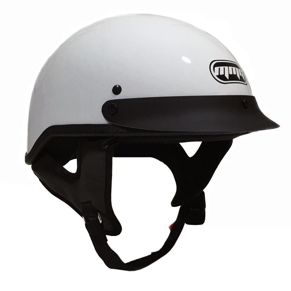 Motorcycle Half Helmet Cruiser DOT Street Legal (M, White)