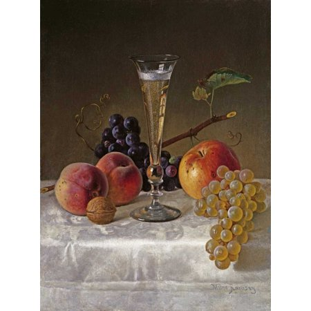 Non Alcoholic Champagne (Still Life With Glass of Champagne Stretched Canvas - Milne Ramsay (18 x 24) )