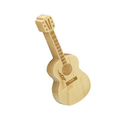 16G USB 2.0 Flash Drive Novelty Mini Wooden Guitar Shape Pen Drive Flash U Disk (Pen Driver 16g)