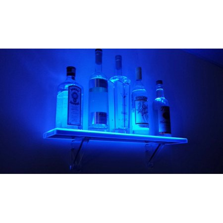 - 2' LED Liquor Shelf and Bottle Display with Wall Mount Kit - Made in the USA