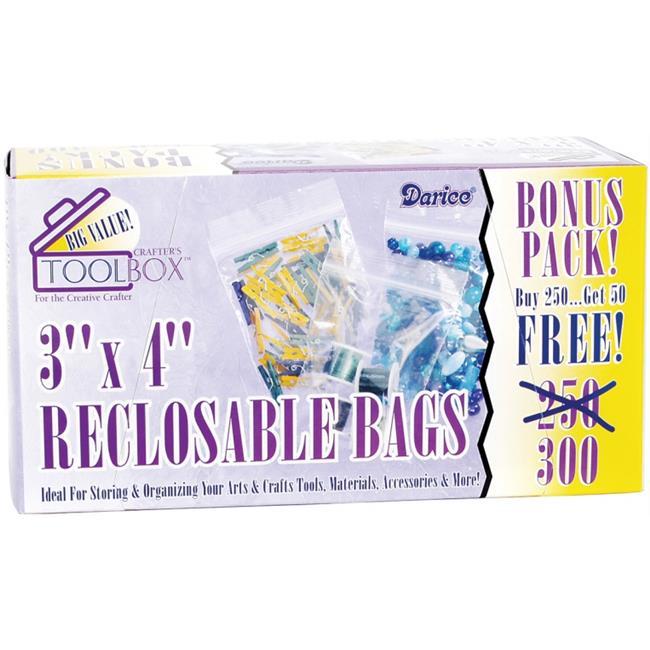 Darice 1115-10 Reclosable Plastic Bags 3 inch x 4 inch 300-Pkg