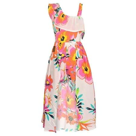 Girls Coral Floral Print Asymmetrical One Shoulder Romper Dress ()