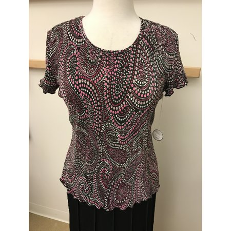 Black, Pink, Taupe Spotted Paisley Crystal Pleat Short Sleeeve Tee (Style# 51916)