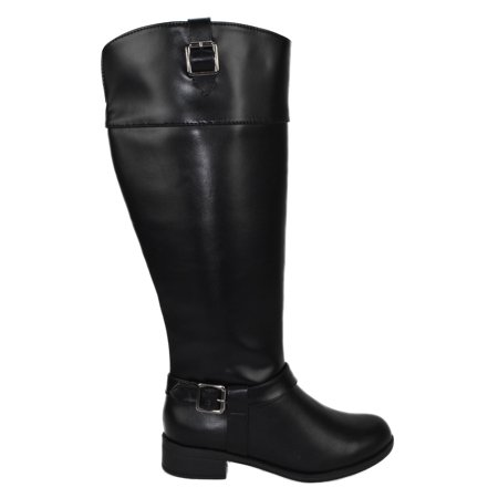 Mica Black Soda Women Knee High Buckled Horse Riding Flat Heel Wide Claf Boots 10 (Mountain Horse Riding Boots)
