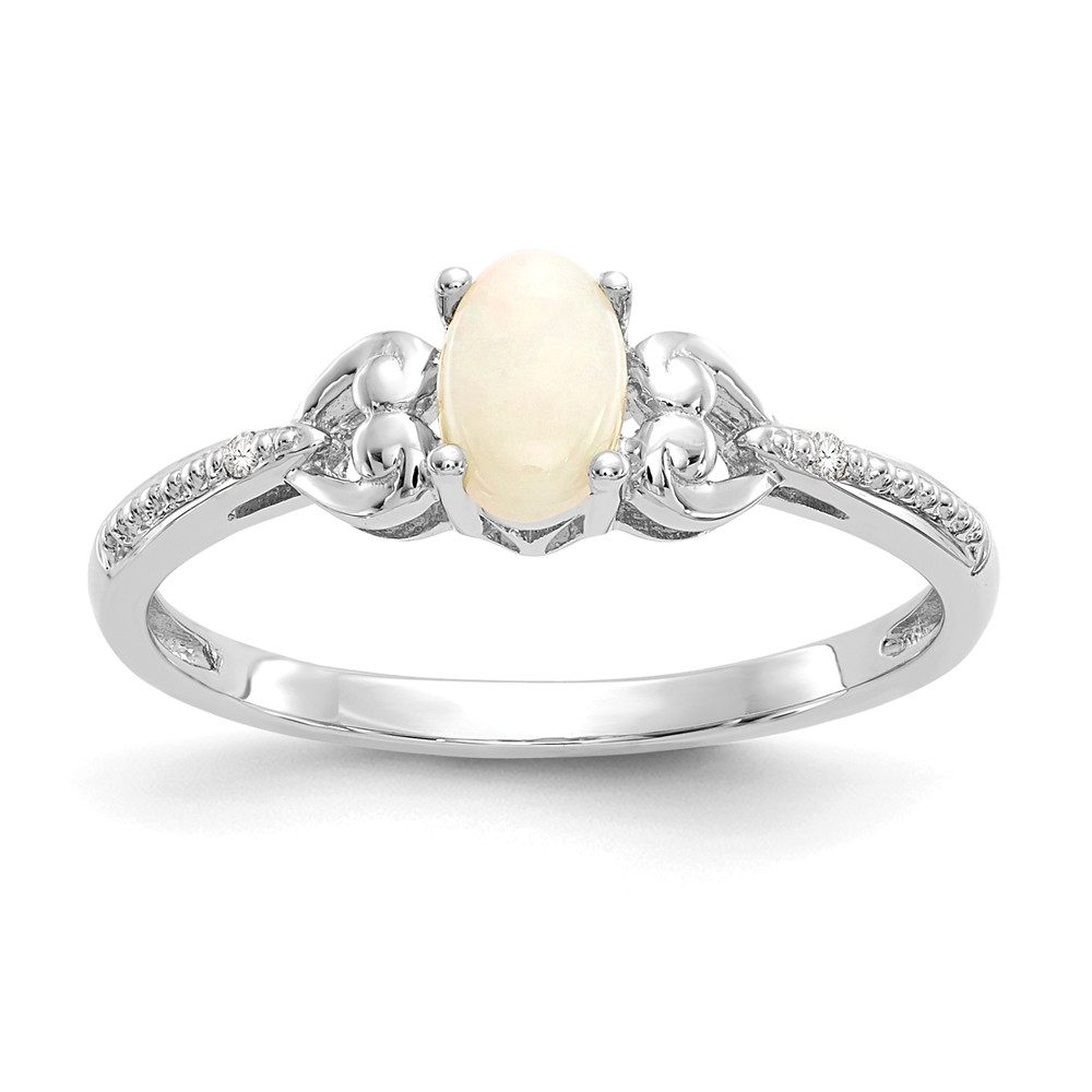 10K White Gold (.01cttw) Opal Diamond Ring by