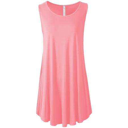 VIV Collection Sleeveless Flare Hem Tunic Top (Baby Pink, Medium)