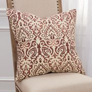 "Rizzy Home 22""x22"" marsala damask polyester filled pillow"