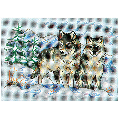 "Dimensions ""A Pair of Wolves"" Mini Counted Cross Stitch Kit, 7"" x 5"""