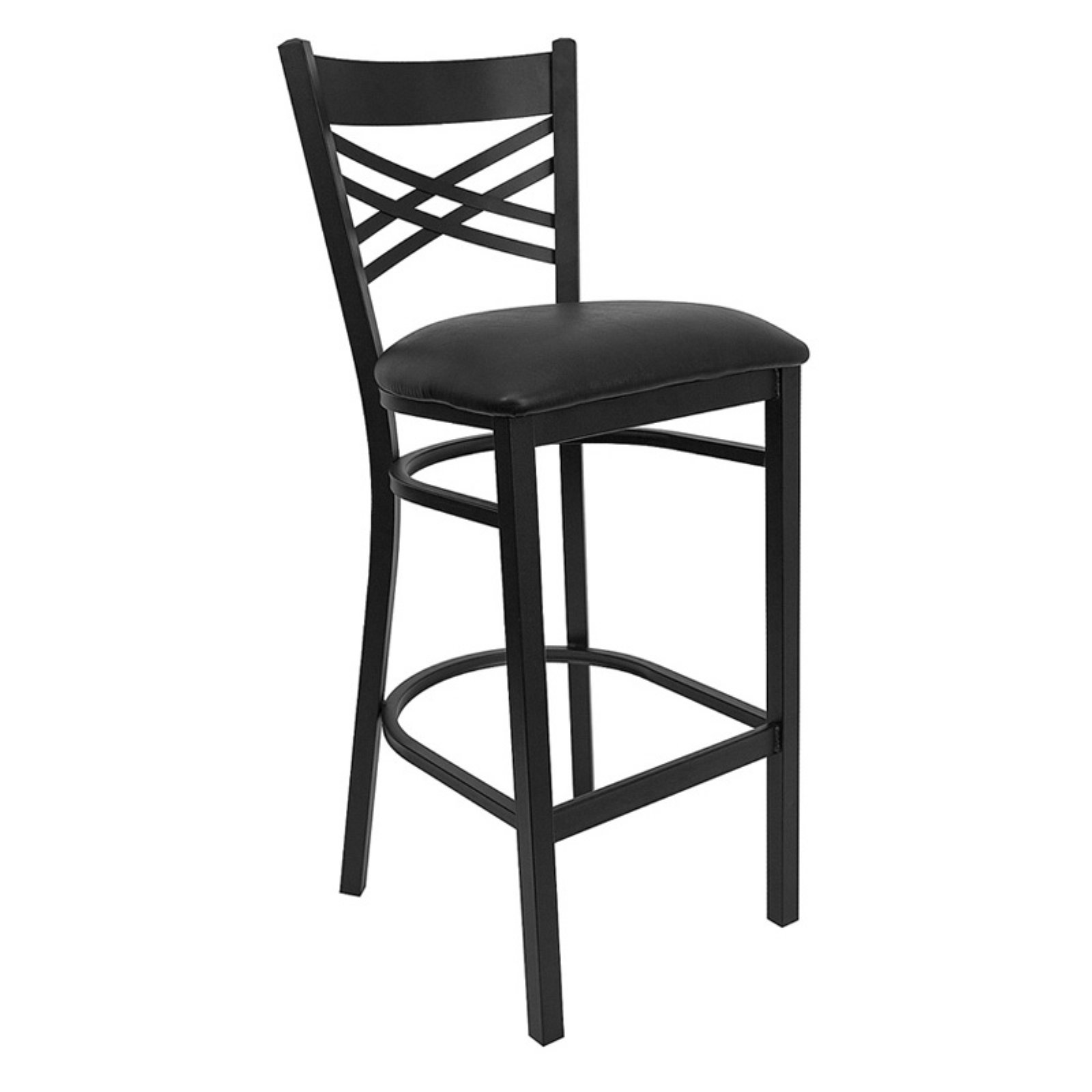 Flash Furniture 31 in. Hercules X-Back Restaurant Vinyl Seat Bar Stool - Black