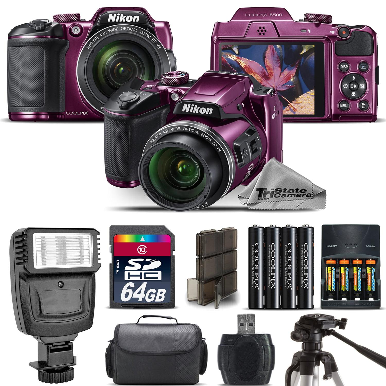 Nikon COOLPIX B500 Plum Camera 40x Optical Zoom + Flash + Case...