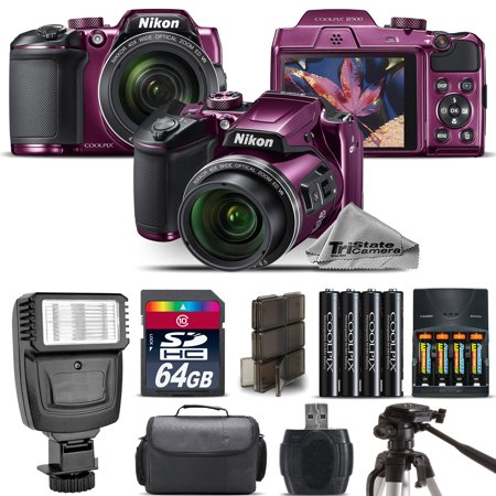 Nikon COOLPIX B500 Plum Camera 40x Optical Zoom + Flash + Case - 64GB Kit (Coolpix Housing)