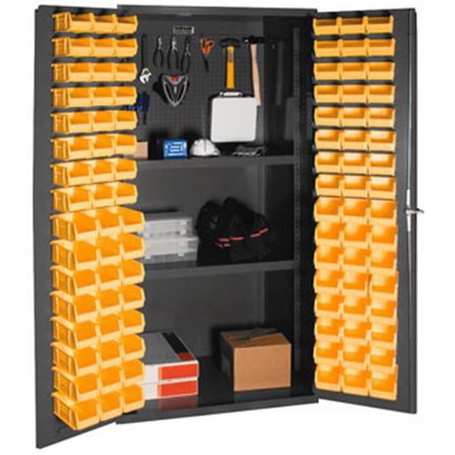 14 Gauge Flush Door Style Lockable Cabinet with Steel Pegboard & 96 Yellow Hook on Bins & 2 Adjustable Shelves, Gray - 36 in.