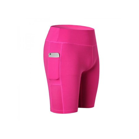 Women Compression Shorts Pocket Sports Gym Fitness Running Yoga