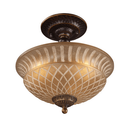 Semi Flush 3 Light With Golden Bronze Finish Antique Amber Glass Medium Base 10 inch 225 Watts - World of Lamp